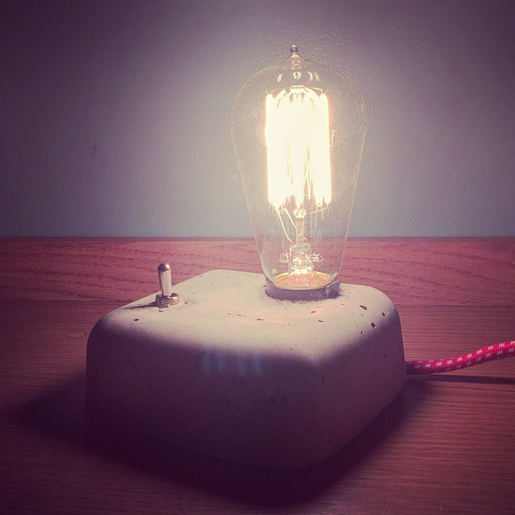 Short Stack Square Concrete Lamp
