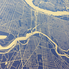 Antique Gold Philadelphia Street Map