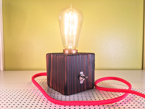 Solid Pine Wooden Cube Lamp