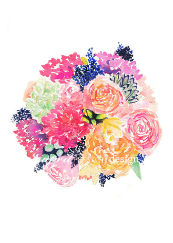 Colorful Bridal Bouquet – Watercolor Print