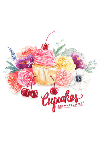 Cupcakes Are My Favorite - Watercolor Print
