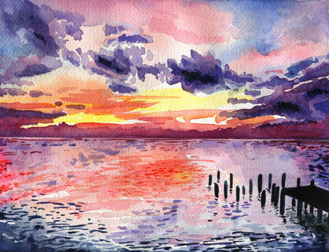 Sunset on the Bay - Landscape - Watercolor Print