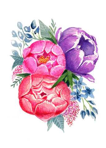 Blooming Peonies- Watercolor Print