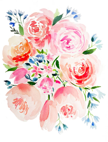 Pink and Blue Garden Bouquet - Watercolor Print