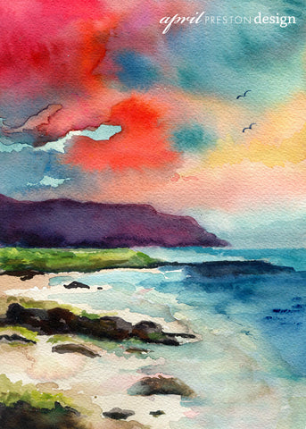 Red Sunset at the Cove - Landscape - Watercolor Print