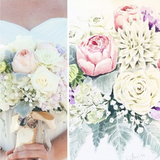 Custom Watercolor Bridal Bouquet Portrait