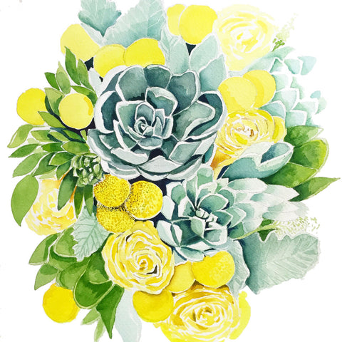Succulents and Yellow Roses -NEW!