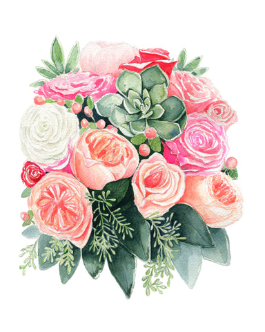 Succulents and Peach Roses - NEW!