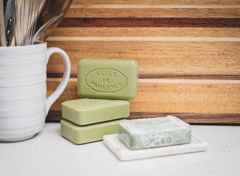What does Savon de Marseille look like? It is green in colour when using olive oil like in the Belle de Provence Olive Oil collection