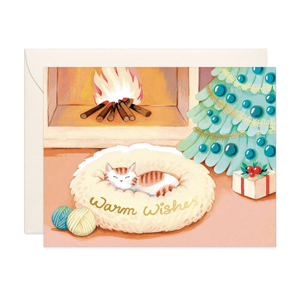 Cat Warm Wishes Holiday Card - Belle De Provence