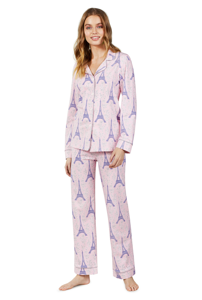 Colette's Eiffel Stretch Long Sleeve Classic PJ Set - Belle De Provence