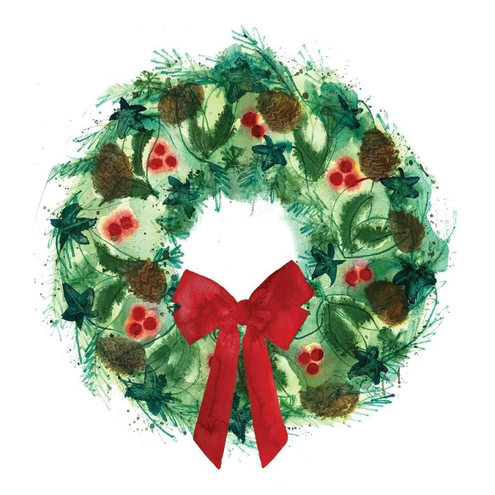 Winter Wreath Cocktail Napkins - Belle De Provence