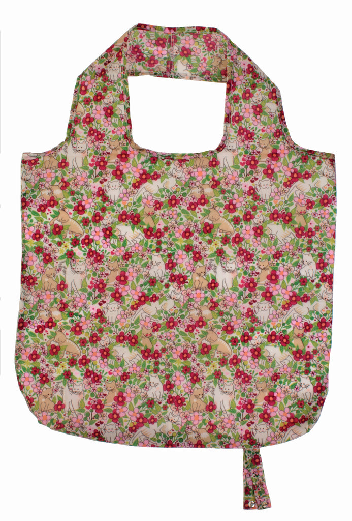 Floral Cats Roll-Up Reusable Bag - Belle De Provence