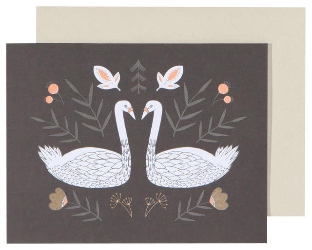Swans Blank Greeting Card - Belle De Provence