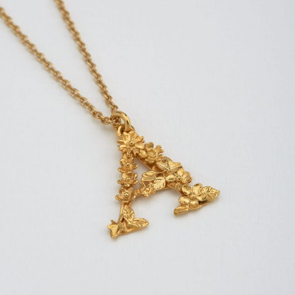 Alex Monroe - Gold Floral Alphabet Necklace