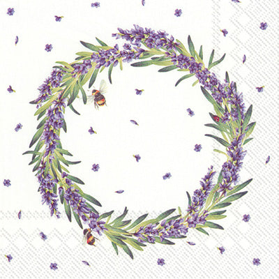 Lavender Wreath Cocktail Napkin - Belle De Provence