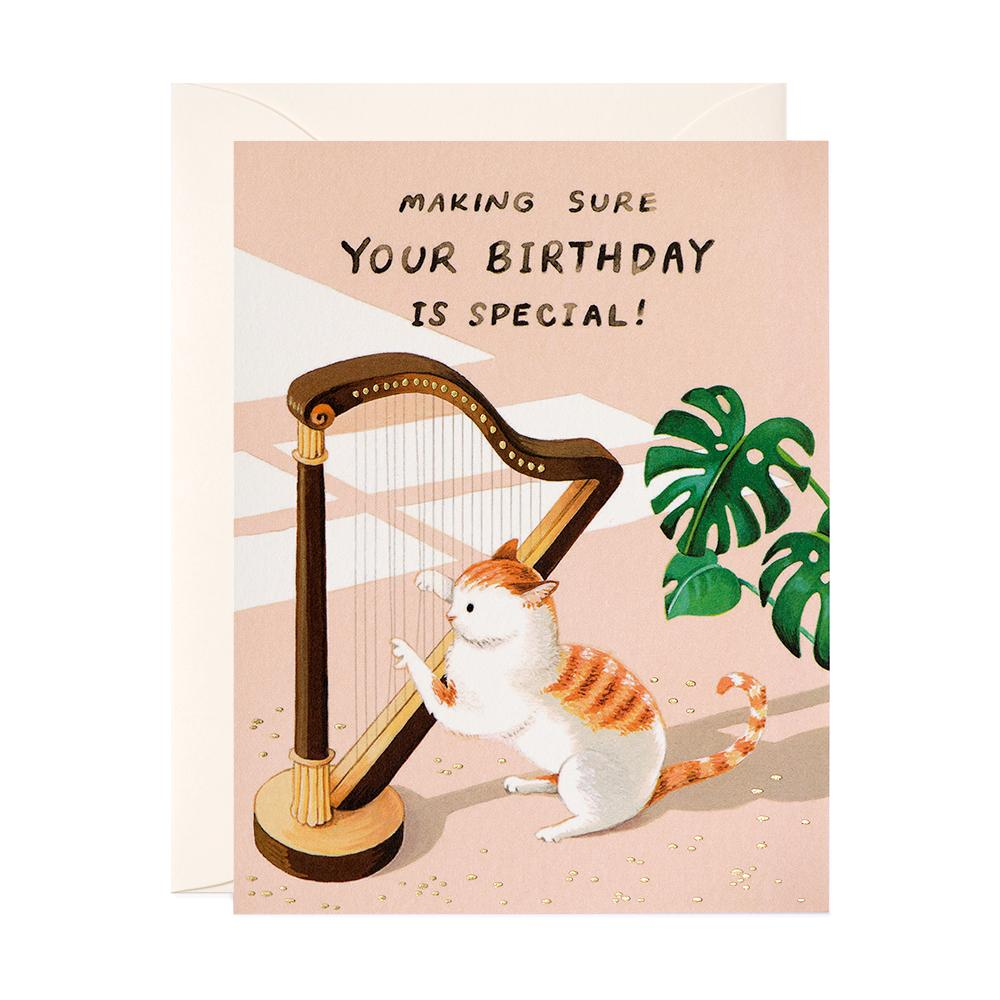 Cat & Harp Birthday Card - Belle De Provence