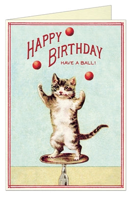 Happy Birthday Juggling Cat Card - Belle De Provence