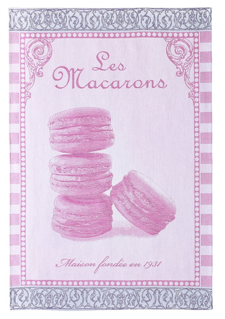 Les Macarons Rose Tea Towel - Belle De Provence