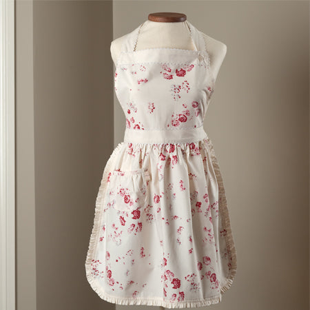 Taylor Linens Red Flower Apron