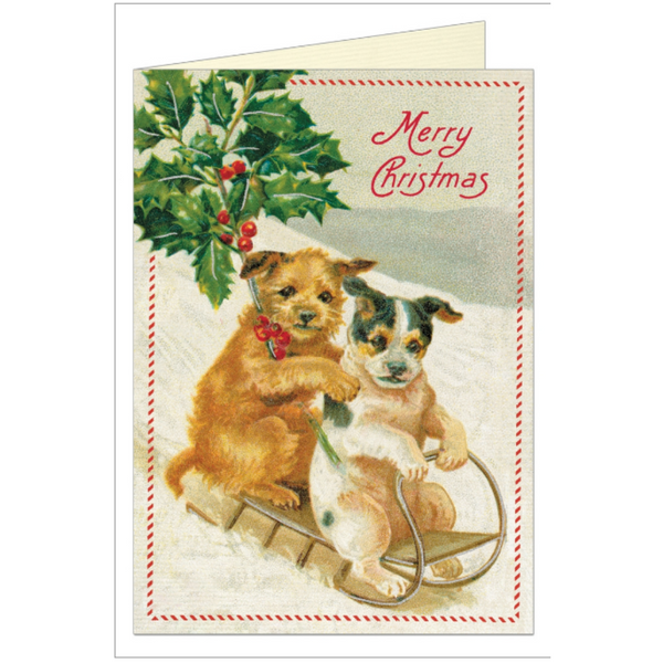 Christmas Dogs Greeting Card - Belle De Provence