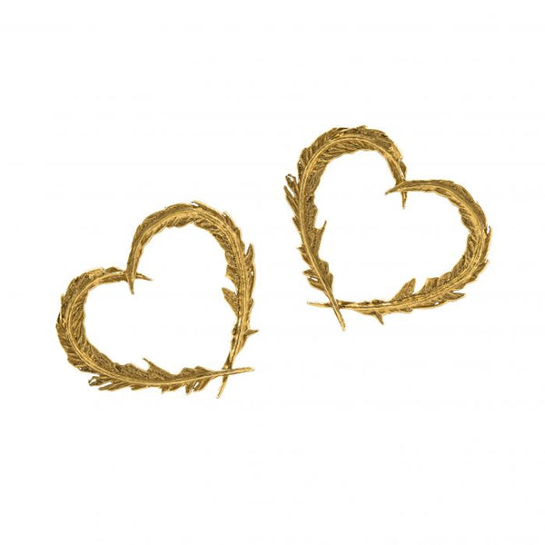 Alex Monroe - Gold Delicate Feather Heart Stud Earrings