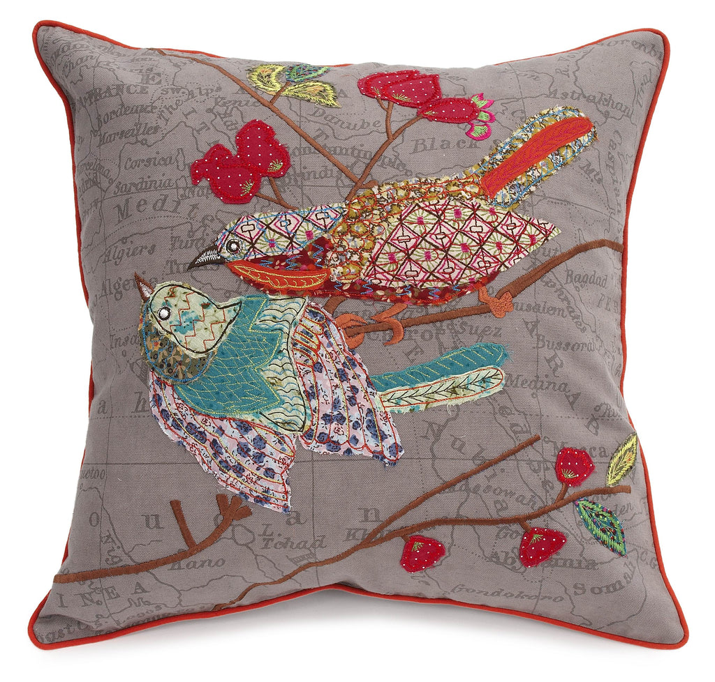 Grey Love Bird Pillow - Belle De Provence