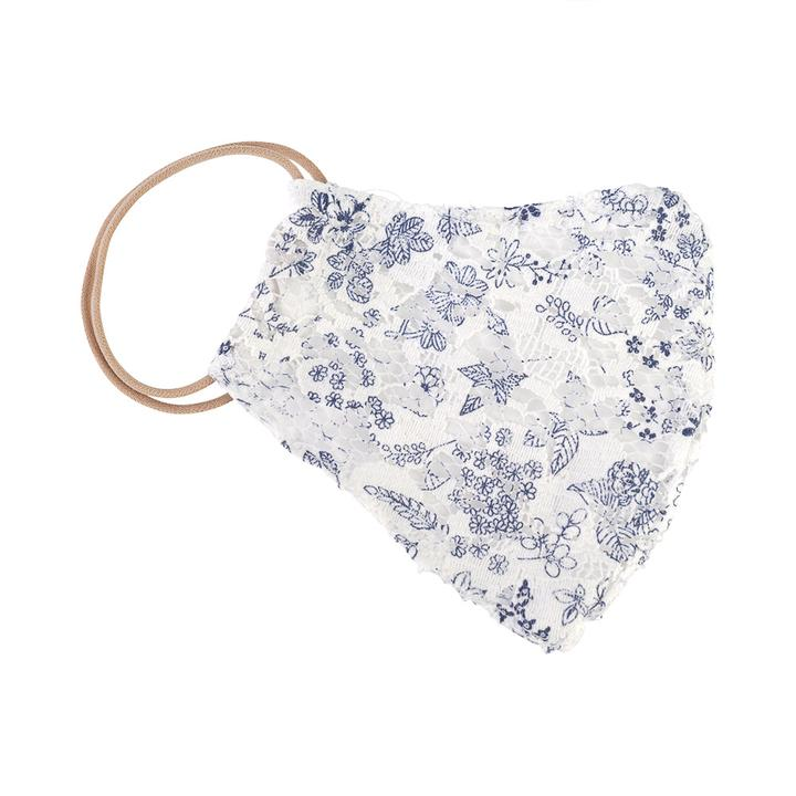 Navy Floral Lace Mask
