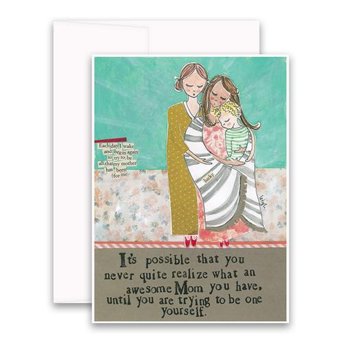 Awesome Mom Greeting Card - Belle De Provence
