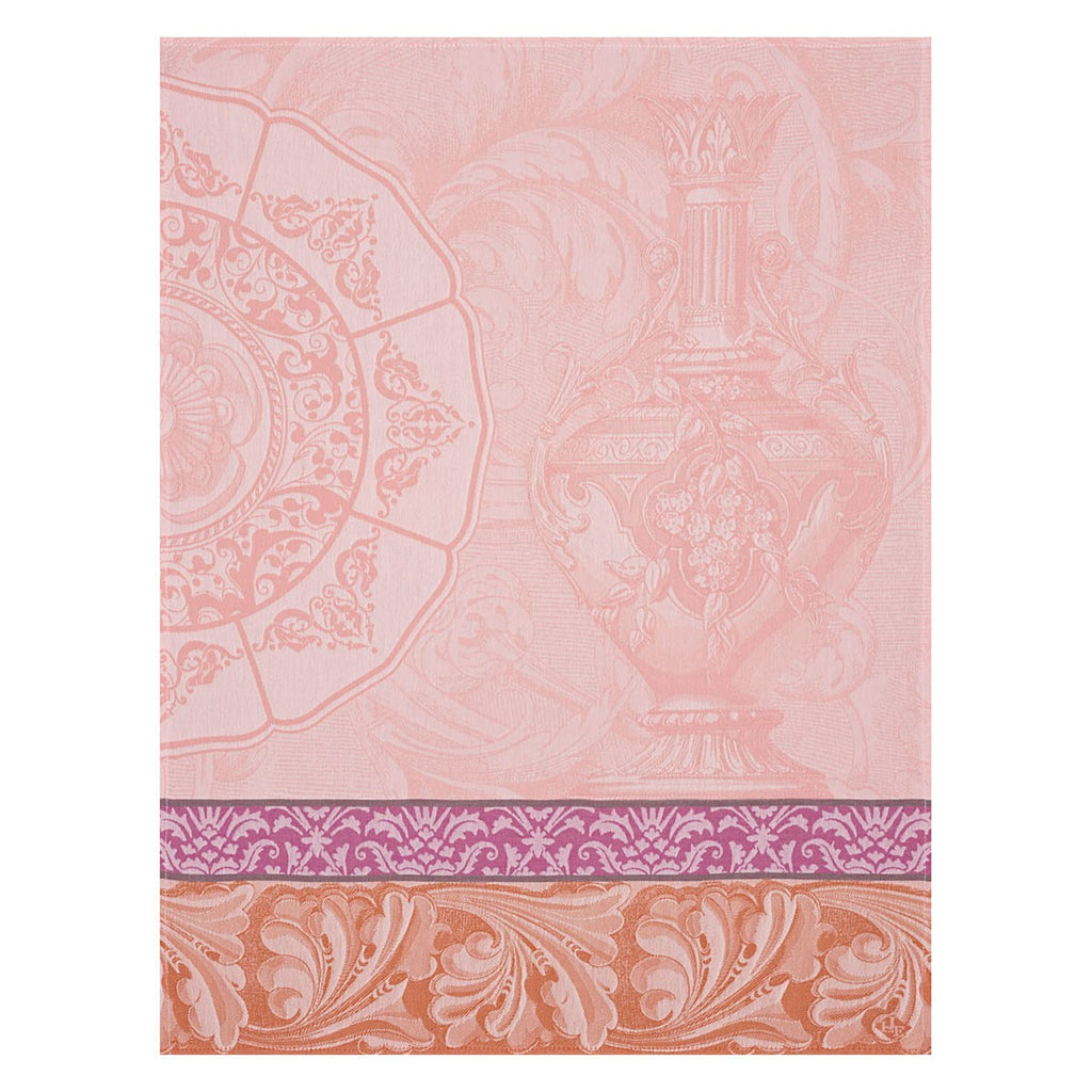 Baroque Porcelaine Pink Tea Towel - Belle De Provence
