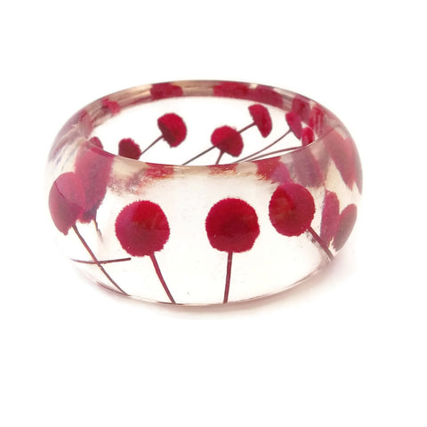 Resin Bracelet with Red Button Flowers