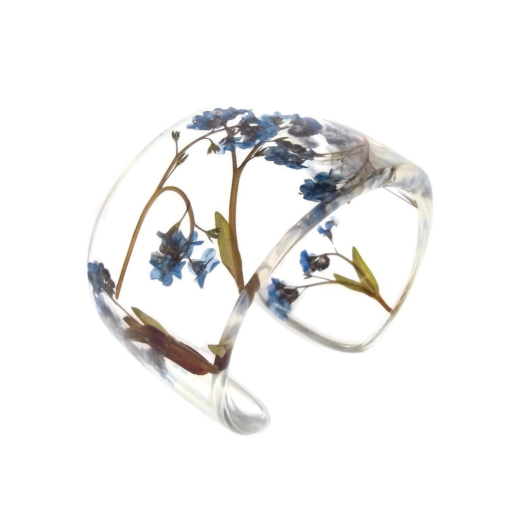 Forget Me Nots Eco Resin Cuff