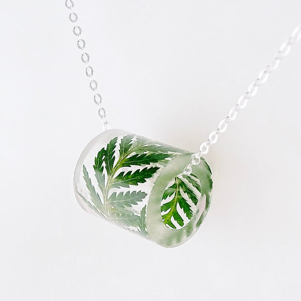 Resin Tube Necklace with Fern