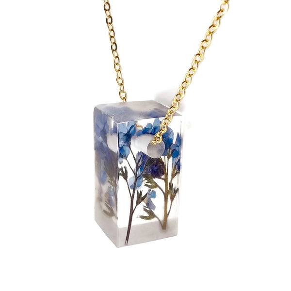 Bar Necklace with Forget Me Nots