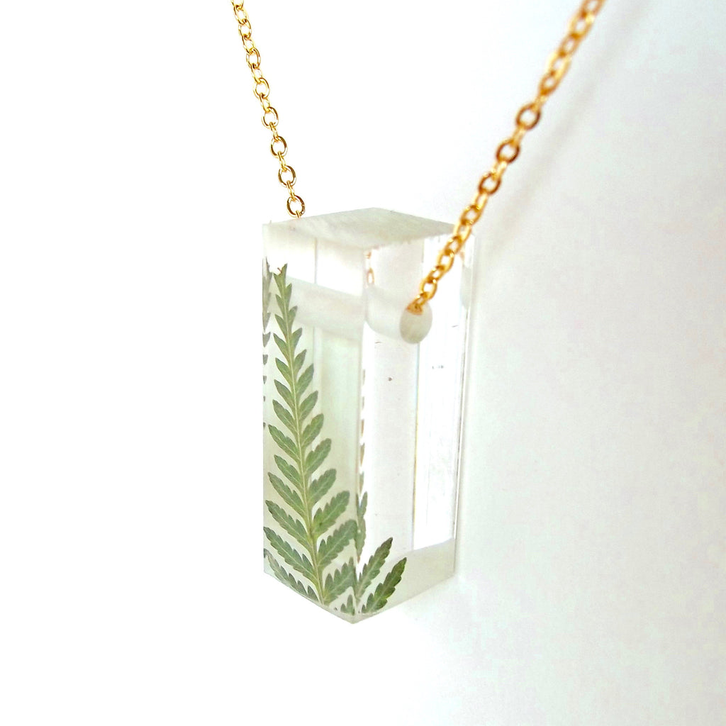 Bar Necklace with Ferns