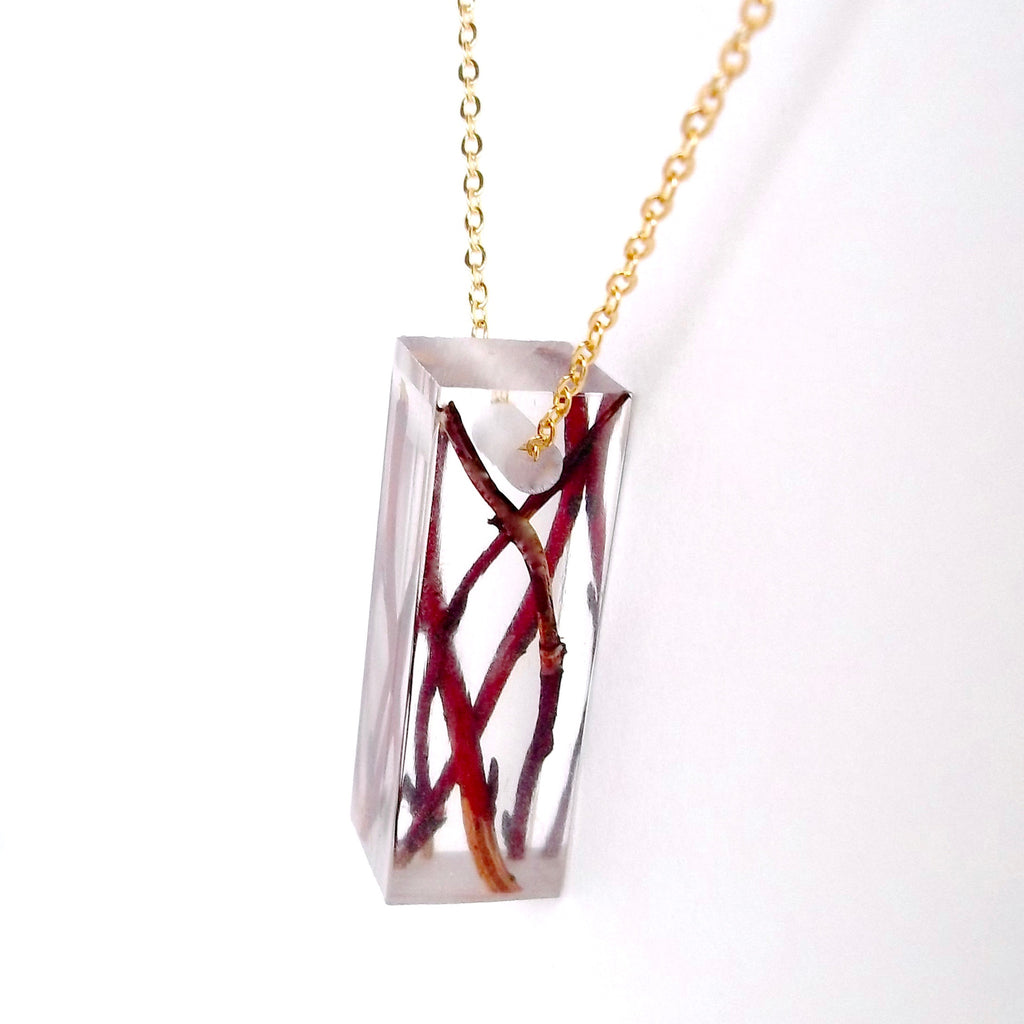 Bar Necklace with Willow Branches