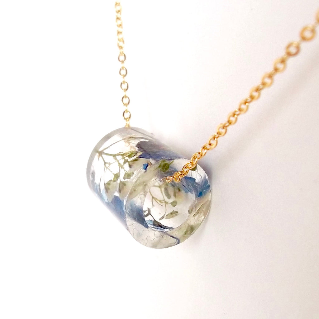 Resin Tube Necklace with Forget Me Nots and Baby's Breath