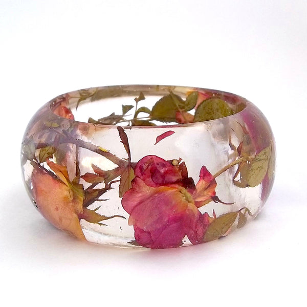 Resin Bracelet with Rose