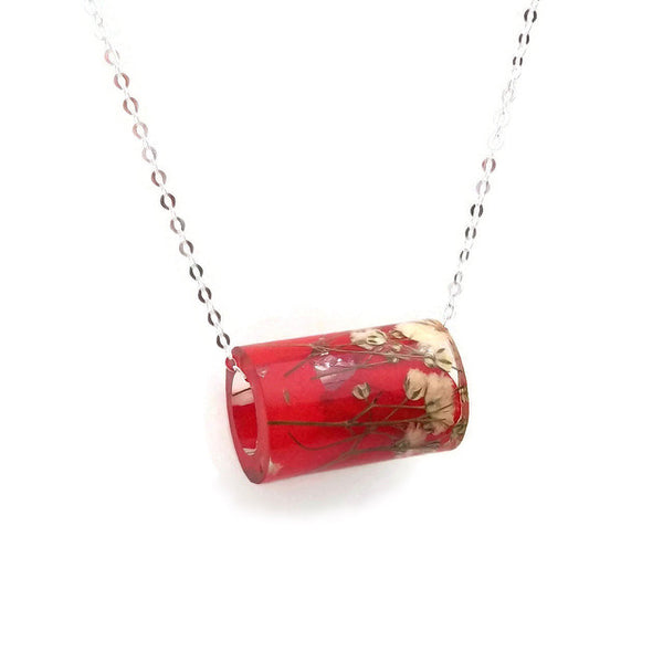 Resin Tube Necklace with Red Hydrangea and White Baby's Breath