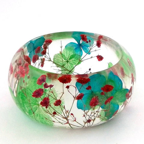 Resin Bracelet with Red Baby's Breath and  Blue & Green Hydrangea.
