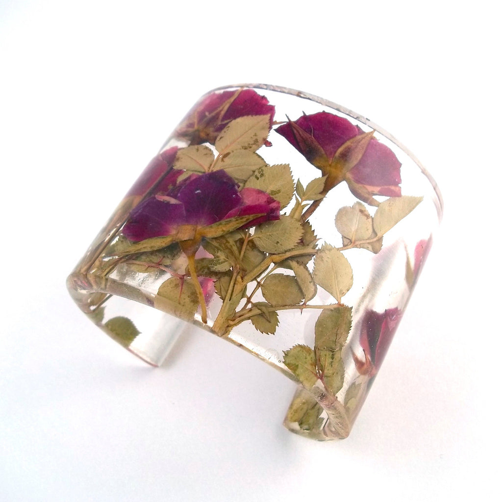 Eco Resin Cuff with Rose