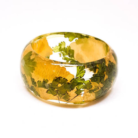 Resin Bracelet with Ginkgo Leaves and Maidenhair Fern