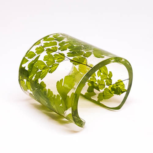 Eco Resin Cuff with Maidenhair Fern