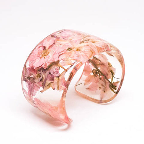 Pink Larkspur Eco Resin Cuff
