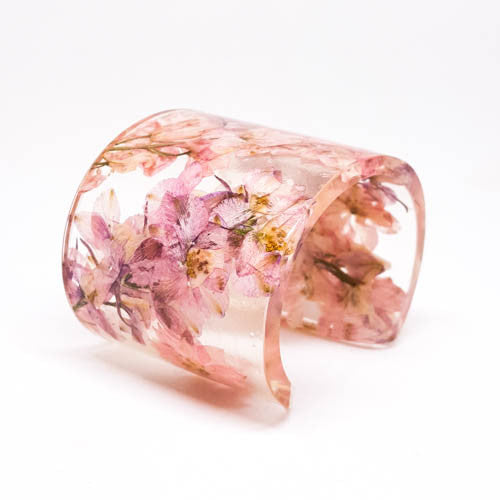 Eco Resin Cuff with Pink Larkspur