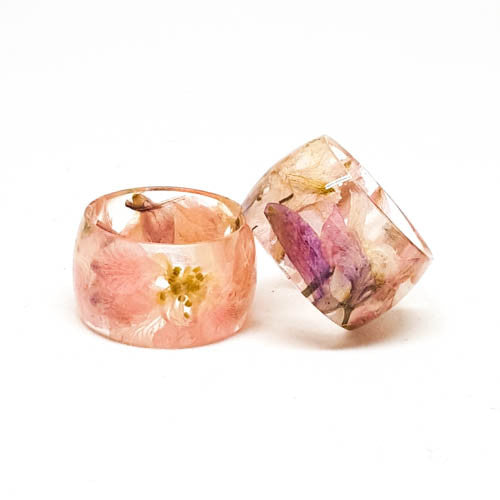 Resin Band Ring with Pink Larkspur