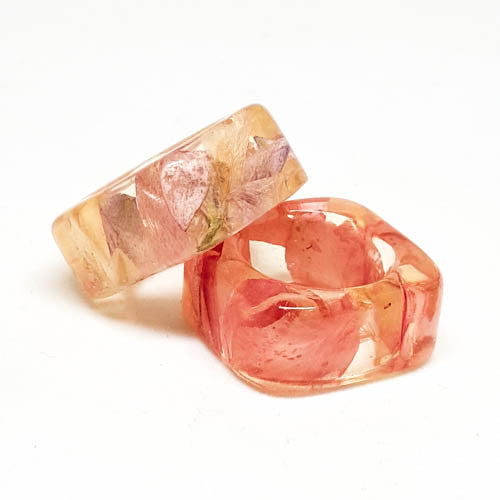 Seconds Sale -  Square Resin Ring with Pink Larkspur