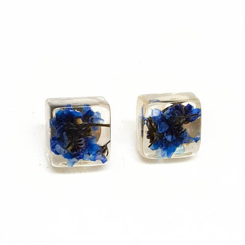 Square Post Earrings with Forget Me Nots