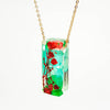 Bar Necklace with Blue and Green Hydrangea and Red Baby's Breath