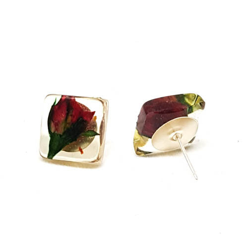 Square Post Earrings with Rose